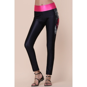 Pantalon Active Couleur Imprimé Spliced ​​Stretchy Skinny femmes -