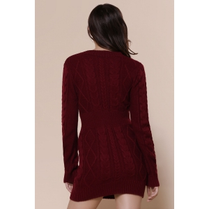 Retro Style Scoop Neck Cable-Knit Long Sleeve Sweater Dress For Women -