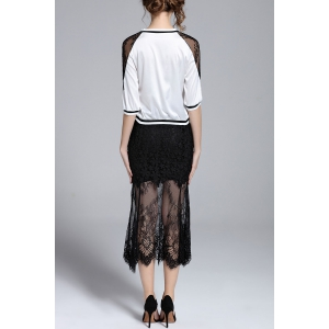 Half Sleeve Blouse and Lace See-Through Skirt Twinset -