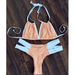 Stylish Double Halter Neck Color Block Women's Bikini Set
