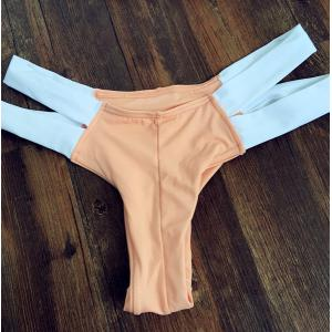Stylish Double Halter Neck Color Block Women's Bikini Set - ORANGEPINK S