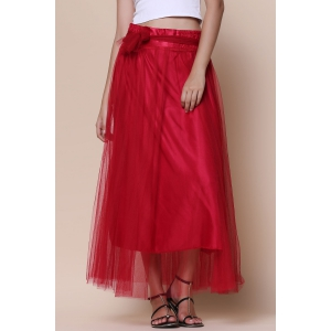 Stylish High-Waisted Solid Color Voile Women's Maxi Skirt - WINE RED ONE SIZE(FIT SIZE XS TO M)