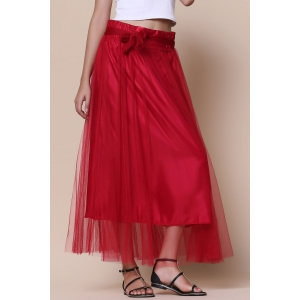 Maxi Tulle Skirt - WINE RED ONE SIZE(FIT SIZE XS TO M)