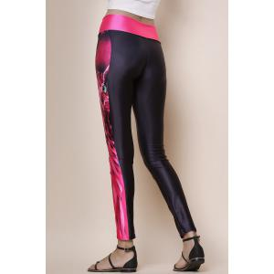 Fashionable Owl Print Color Splicing Skinny Women's Pants - BLACK AND ROSE RED ONE SIZE(FIT SIZE XS TO M)