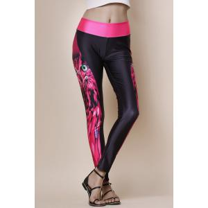 Fashionable Owl Print Color Splicing Skinny Women's Pants - BLACK/ROSE RED ONE SIZE(FIT SIZE XS TO M)