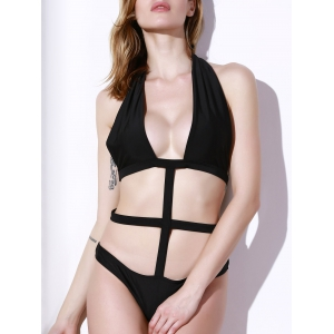 Hollow Out Halter Backless Monokini One-Piece Swimsuit