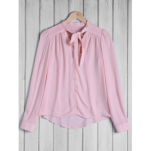 Stylish Bow Tie Collar Solid Color Long Sleeve Blouse For Women - Pink - L