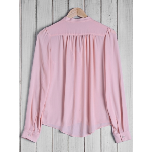 Stylish Bow Tie Collar Solid Color Long Sleeve Blouse For Women - PINK M