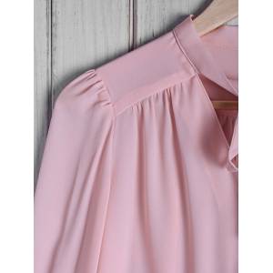 Stylish Bow Tie Collar Solid Color Long Sleeve Blouse For Women - PINK S