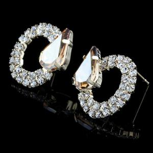 Pair of Graceful Faux Crystal Water Drop Circle Earrings For Women -