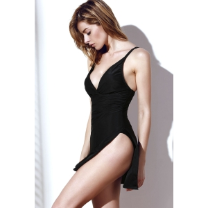 Sexy Plunging Neck Sleeveless Black One-Piece Swimsuit For Women - BLACK M