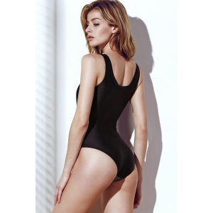 Stylish Color Block Hollow Out One-Piece Swimsuit For Women - BLACK M