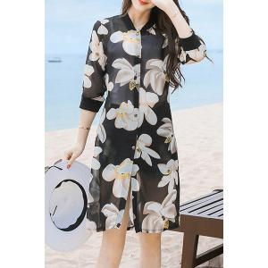Refreshing 3/4 Sleeve Floral Print Button Design Women's Cover-Up - Black - L