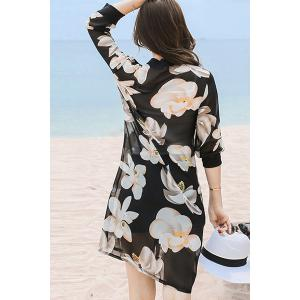 Refreshing 3/4 Sleeve Floral Print Button Design Women's Cover-Up -