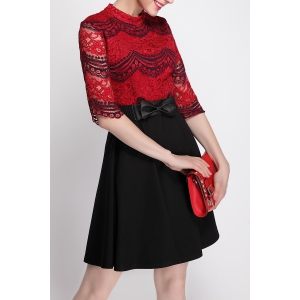 Mock Neck Lace Panel Color Block Dress -