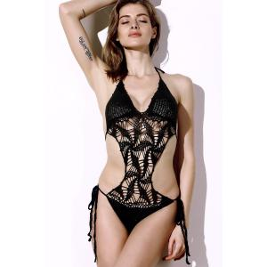 Halter Hollow Out Knitted Crochet String Monokini Swimsuit - BLACK S
