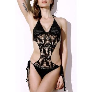 Halter Hollow Out Knitted Crochet String Monokini Swimsuit