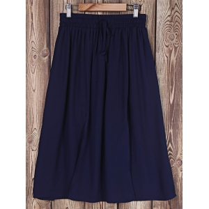 Fashionable Solid Color Slit A-Line Skirt For Women - NAVY BLUE ONE SIZE(FIT SIZE XS TO M)
