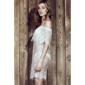 Off The Shoulder Lace Cover-Up For Swimwear - WHITE M