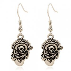 Pair of Retro Skeleton Playing The Guitar Earrings