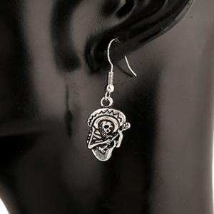 Pair of Retro Skeleton Playing The Guitar Earrings - SILVER