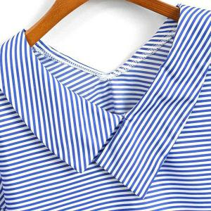 Casual V-Neck Striped Short Sleeve Blouse For Women -