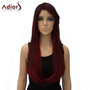 Vogue Two-Tone Ombre Long Side Parting Straight Tail Adduction Synthetic Adiors Wig For Women