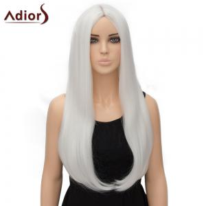 Fashion Long Straight Tail Adduction Middle Part Synthetic Universal Adiors Cosplay Wig For Women - White