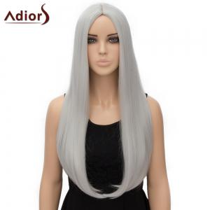 Fashion Long Straight Tail Adduction Middle Part Synthetic Universal Adiors Cosplay Wig For Women - Silver White