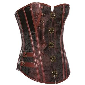 Bustier Trendy Bouton Corset de conception lacets Spliced ​​femmes - Brun XL
