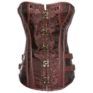 Trendy Strapless Button Design Lace-Up Spliced Women's Corset