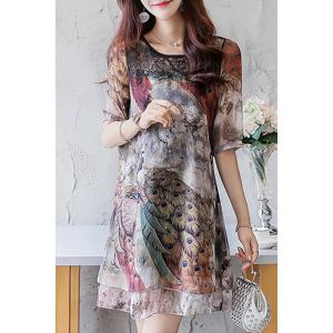 Animal Print Lace Panel Chiffon Mini Print Dress