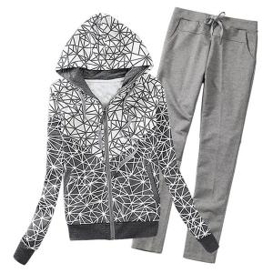 Women's Fashionable Long Sleeve Geometrical Print Hoodie + Pants Suit - Gray - 2xl