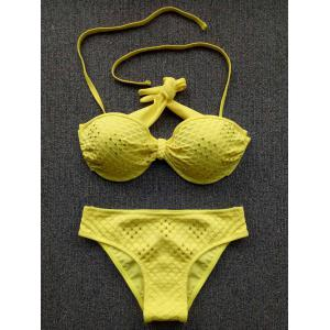 Chic Halter Push-Up Rhinestone Embellished Women's Bikini Set