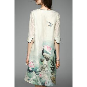 Women's Chinese Style Lotus Print 3/4 Sleeve Dress -