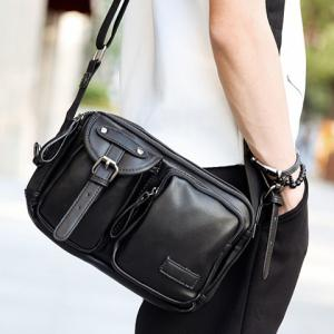 Casual Buckle and Black Color Design Messenger Bag For Men - BLACK