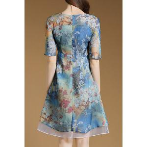 Women's Stylish 1/2 Sleeve Print Chiffon Dress -