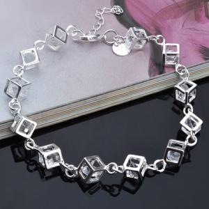 Rhinestone Square Hollow Out Bracelet -