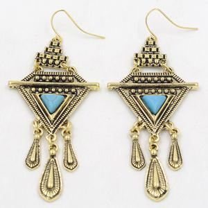 Pair of Vintage Faux Turquoise Water Drop Triangle Earrings -