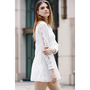 Trendy Plunging Neck Long Sleeve Hollow Out Solid Color Women's Dress -