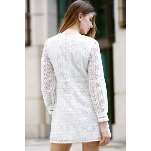 Trendy Plunging Neck Long Sleeve Hollow Out Solid Color Women's Dress - WHITE M