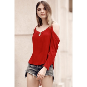 Chic Spaghetti Strap Lace Spliced Hollow Out Women's Blouse -