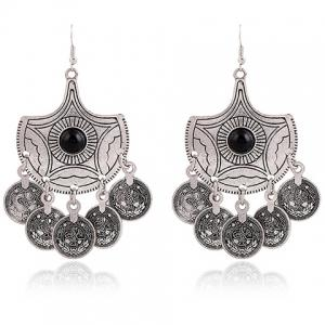 Pair of Vintage Alloy Coins Pendant Earrings