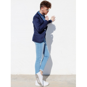 Trendy Lapel One Button Sutures Design Slimming Long Sleeve Polyester Blazer For Men - CADETBLUE L