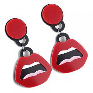 Pair of Alloy Lips Drop Earrings - RED