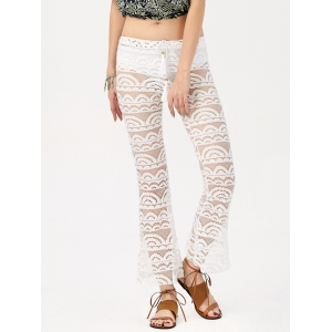 Sexy Lace See-Through Solid Color Pants For Women - White - M