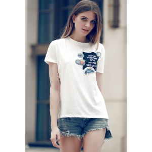 Chic Round Collar Patch Design Letter Print Women's T-Shirt -