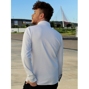 Turn-Down Collar Button Embellished Pocket Long Sleeve Men's Polo T-Shirt -