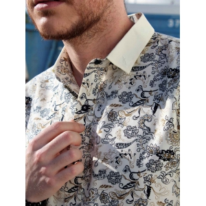 Vogue Shirt Collar 3D Floral Spliced Color Block Slimming Long Sleeves Men's Button-Down Shirt -