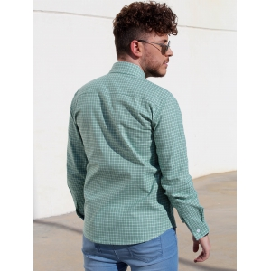 Long Sleeve Slimming Checked Cotton Shirt - GREEN M